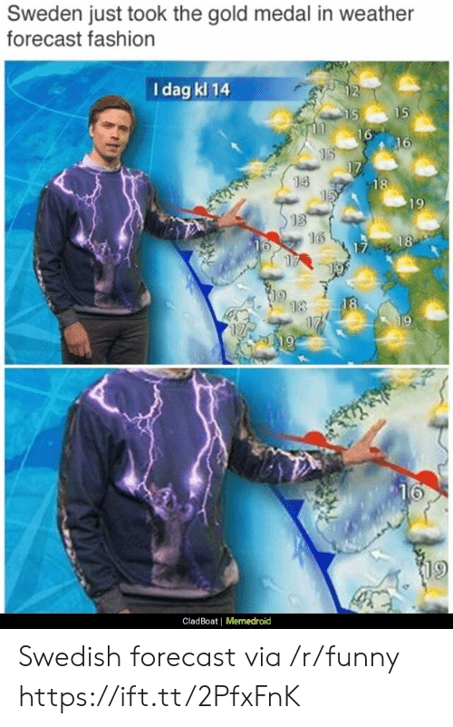 Memedroid: Sweden just took the gold medal in weather  forecast fashion  I dag kl 14  14  13  16  9  CladBoat |  Memedroid Swedish forecast via /r/funny https://ift.tt/2PfxFnK
