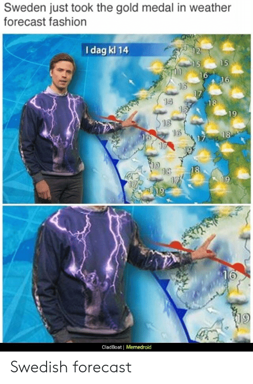 Memedroid: Sweden just took the gold medal in weather  forecast fashion  I dag kl 14  14  13  16  9  CladBoat |  Memedroid Swedish forecast