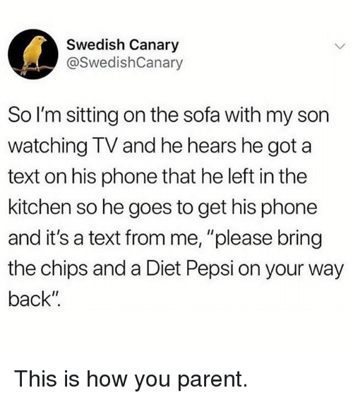 """Funny, Phone, and Pepsi: Swedish Canary  @SwedishCanary  So I'm sitting on the sofa with my son  watching TV and he hears he got a  text on his phone that he left in the  kitchen so he goes to get his phone  and it's a text from me, """"please bring  the chips and a Diet Pepsi on your way  back"""" This is how you parent."""