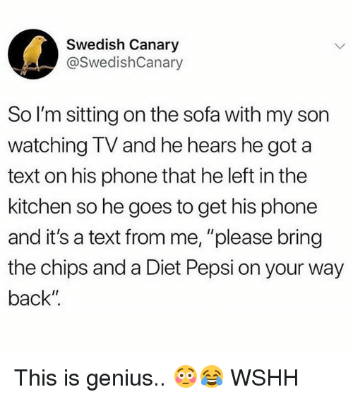 "Memes, Phone, and Wshh: Swedish Canary  @SwedishCanary  So I'm sitting on the sofa with my son  watching TV and he hears he got a  text on his phone that he left in the  kitchen so he goes to get his phone  and it's a text from me, ""please bring  the chips and a Diet Pepsi on your way  back"" This is genius.. 😳😂 WSHH"