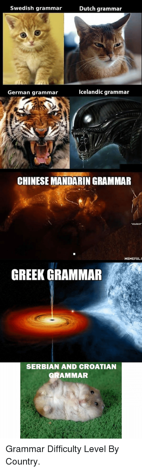 Croatian: Swedish grammar  Dutch grammar  German grammar  Icelandic grammar  CHINESE MANDARIN GRAMMAR  student  MEMEFUL.  GREEK GRAMMAR  SERBIAN AND CROATIAN  GRAMMAR <p>Grammar Difficulty Level By Country.</p>