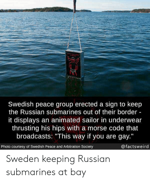 """submarines: Swedish peace group erected a sign to keep  the Russian submarines out of their border  it displays an animated sailor in underwear  thrusting his hips with a morse code that  broadcasts: """"This way if you are gay.""""  Photo courtesy of Swedish Peace and Arbitration Society  @factsweird Sweden keeping Russian submarines at bay"""
