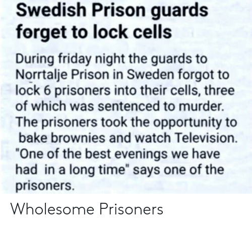 """prisoners: Swedish Prison guards  forget to lock cells  During friday night the guards to  Norrtalje Prison in Sweden forgot to  lock 6 prisoners into their cells, three  of which was sentenced to murder.  The prisoners took the opportunity to  bake brownies and watch Television.  """"One of the best evenings we have  had in a long time"""" says one of the  prisoners. Wholesome Prisoners"""