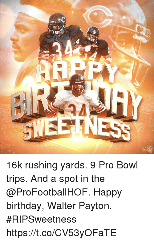 Birthday, Memes, and Nfl: SWEETNESS  SINI IES  NFL 16k rushing yards. 9 Pro Bowl trips. And a spot in the @ProFootballHOF.  Happy birthday, Walter Payton. #RIPSweetness https://t.co/CV53yOFaTE