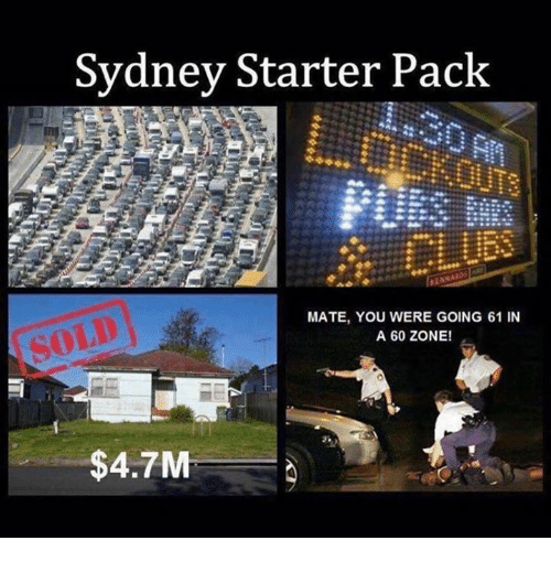Memes, 🤖, and Sydney: Sydney Starter Paclk  MATE, YOU WERE GOING 61 IN  A 60 ZONE!  $4.7M