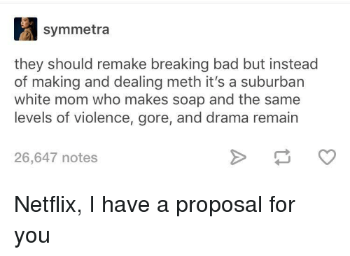 proposal: symmetra  they should remake breaking bad but instead  of making and dealing meth it's a suburban  white mom who makes soap and the same  levels of violence, gore, and drama remain  26,647 notes Netflix, I have a proposal for you