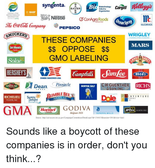 syngenta: Syngenta  Bi  Biotechnology  Cargill  BAYER  ndustry  Organization  COUNCIL FOR  BIOTECHNOLOGY  Nestle  ConAgra Foods  ompany  3 PEPSICO  McCORMICK  MUCKERS  WRIGLEY  THESE COMPANIES  Delmonte  OPPOSE  GMO LABELING  Solae  Oampteli daralee Hero  BIMBO BAKERIES USA.  KNOUSE  Dean  Pinnacle  H.GU  RICHS  MORTON SAIT  a N VENTURE  RICHELIEU  00 Delight  Met  Belgium 1926  GENERAL MILLS  Source: http:/cal-access.sos.ca.gov  dCampaign'Committees/Detail aspx?id-134413  1&view late Sounds like a boycott of these companies is in order, don't you think...?
