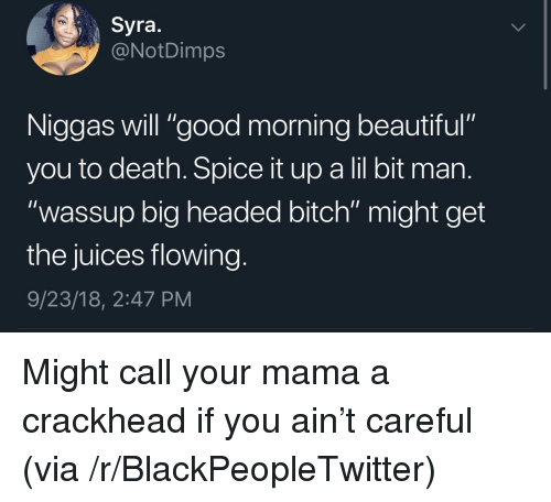 "Beautiful, Bitch, and Blackpeopletwitter: Syra.  @NotDimps  Niggas will ""good morning beautiful""  you to death. Spice it up a lil bit man  ""wassup big headed bitch"" might get  the juices flowing  9/23/18, 2:47 PM Might call your mama a crackhead if you ain't careful (via /r/BlackPeopleTwitter)"