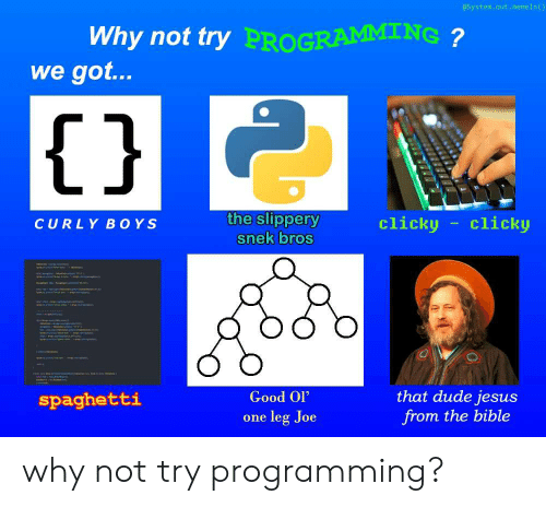 """one leg: @System.out.memeln()  Why not try  PROGRAMMING  we got...  1j  the slippery  snek bros  clicky clicko  CURLY BOYS  Good Ol""""  one leg Joe  that dude jesus  from the bible  spaghetti why not try programming?"""
