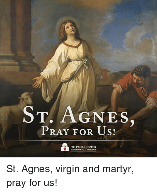 Theology: T. AGNES  PRAY FOR US!  ST. PAUL CENTER  FOR BIBLICAL THEOLOGY St. Agnes, virgin and martyr, pray for us!