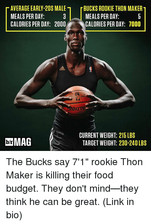 """Is Kill: T AVERAGE EARLY-20S MALE r BUCKS ROOKIE THON MAKERT  MEALS PERDAY:  MEALS PERDAY:  CALORIES PER DAY: 2000  CALORIES PER DAY: 7000  CURRENT WEIGHT: 215 LBS  bh MAG  TARGET WEIGHT 230-240LBS The Bucks say 7'1"""" rookie Thon Maker is killing their food budget. They don't mind—they think he can be great. (Link in bio)"""