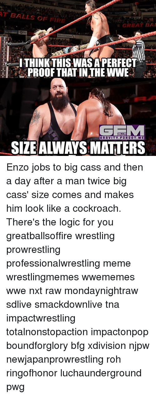rohs: T BALLS OF FIRE  GREAT BAI  THINKTHISWAS APERFECT  PROOF THAT IN THE WWE  GRAVITY.FORGOT.ME  SIZEALWAYS MATTERS Enzo jobs to big cass and then a day after a man twice big cass' size comes and makes him look like a cockroach. There's the logic for you greatballsoffire wrestling prowrestling professionalwrestling meme wrestlingmemes wwememes wwe nxt raw mondaynightraw sdlive smackdownlive tna impactwrestling totalnonstopaction impactonpop boundforglory bfg xdivision njpw newjapanprowrestling roh ringofhonor luchaunderground pwg