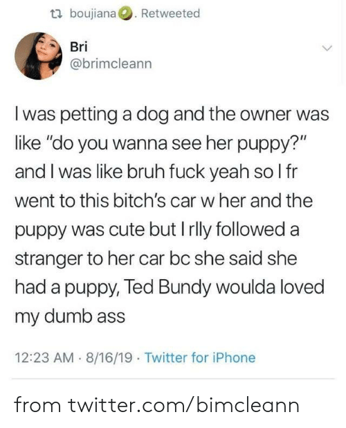 "petting: t boujiana. Retweeted  Bri  @brimcleann  I was petting a dog and the owner was  like ""do you wanna see her puppy?""  and I was like bruh fuck yeah so l fr  went to this bitch's car w her and the  puppy was cute but Irlly followed a  stranger to her car bc she said she  had a puppy, Ted Bundy woulda loved  my dumb ass  12:23 AM 8/16/19 Twitter for iPhone from twitter.com/bimcleann"