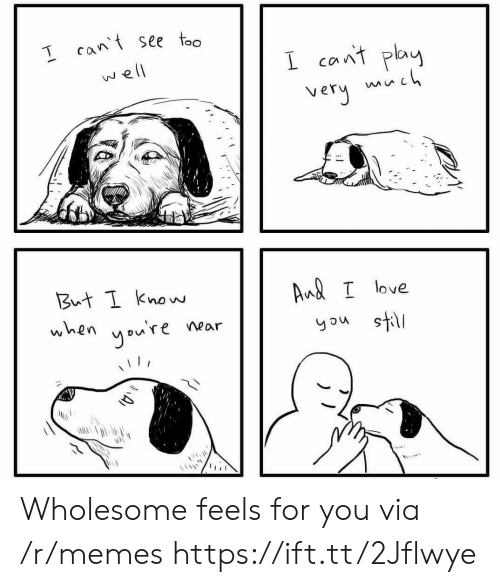 can't see: T cant see too  I cant play  mh  very  well  But I know  Aud I love  when  you're  you still  near  A) Wholesome feels for you via /r/memes https://ift.tt/2Jflwye