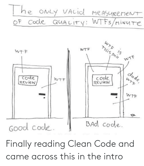 valid: T he ONLY VALid meASURemeNt  OF Code QUALITY: WTFS/miNUTe  WTE IS  WTF  U HS SI11L  WTF  wTF  dude,  code  review  WTF  code  Review,  WTF  WTF  BAd code.  Good code. Finally reading Clean Code and came across this in the intro