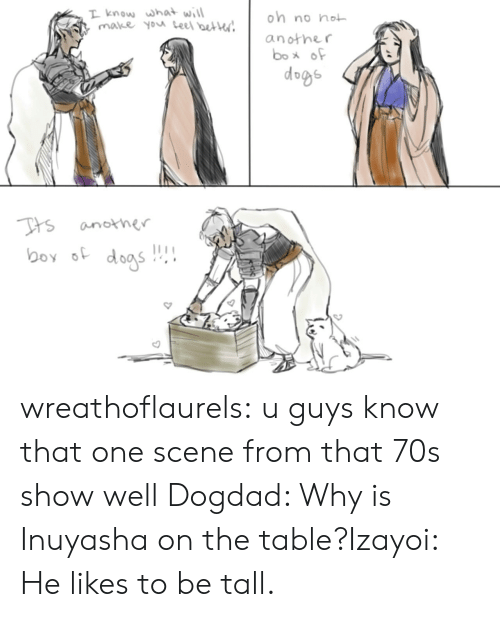 70s: T know what will  make you teel beter  on no not  another  box of  dogs  Tts  another  boy dogs wreathoflaurels:  u guys know that one scene from that 70s show well   Dogdad: Why is Inuyasha on the table?Izayoi: He likes to be tall.