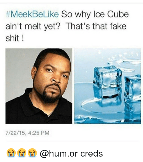 t meekbelike so why ice cube aint melt yet thats 2332754 🔥 25 best memes about ice cube, fake, and shit ice cube, fake,Ice Cube Meme