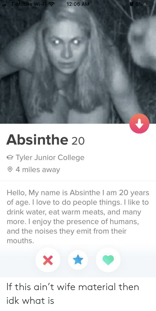 presence: T-Mobile Wi-Fi  12:06 AM  6%I  Absinthe 20  Tyler Junior College  4 miles away  Hello, My name is Absinthel am 20 years  of age. I love to do people things. I like to  drink water, eat warm meats, and many  more. I enjoy the presence of humans,  and the noises they emit from their  mouths.  X If this ain't wife material then idk what is