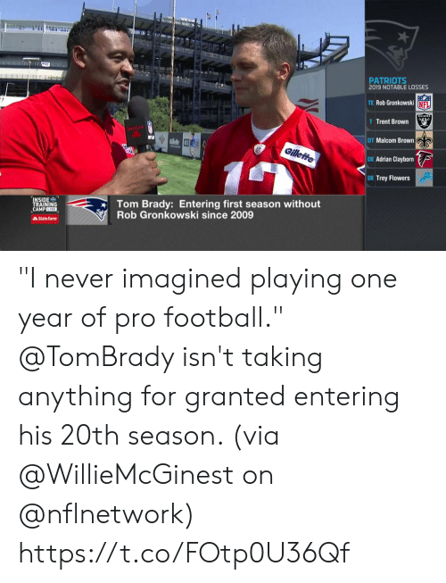 "trent: T  PATRIOTS  2019 NOTABLE LOSSES  TE Rob Gronkowski NFL  AIDERS  T Trent Brown  StateFa  DT Malcom Brown  RGllele 3  Gilleffe  DE Adrian Clayborn  DE Trey Flowers  Tom Brady: Entering first season without  Rob Gronkowski since 2009  INSIDE  TRAINING  CAMPLIVE  AState Farm ""I never imagined playing one year of pro football.""  @TomBrady isn't taking anything for granted entering his 20th season. (via @WillieMcGinest on @nflnetwork) https://t.co/FOtp0U36Qf"