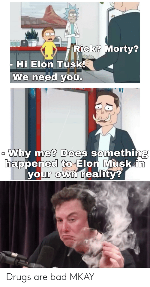 rick morty: T  Rick? Morty?  Hi Elon Tusk!  We need you.  Why me? Does something  happened to Elon Musk in  your own reality? Drugs are bad MKAY