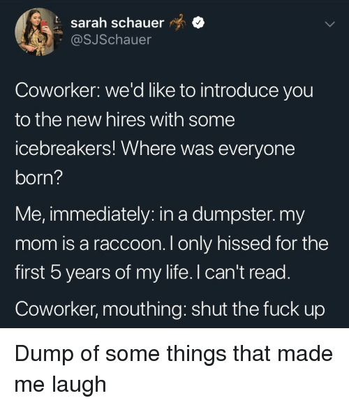mouthing: t sarah schauer  @SJSchauer  Coworker: we'd like to introduce you  to the new hires with some  icebreakers! Where was everyone  born?  Me, immediately: in a dumpster.my  mom is a raccoon. I only hissed for the  first 5 years of my life. I can't read.  Coworker, mouthing: shut the fuck up Dump of some things that made me laugh