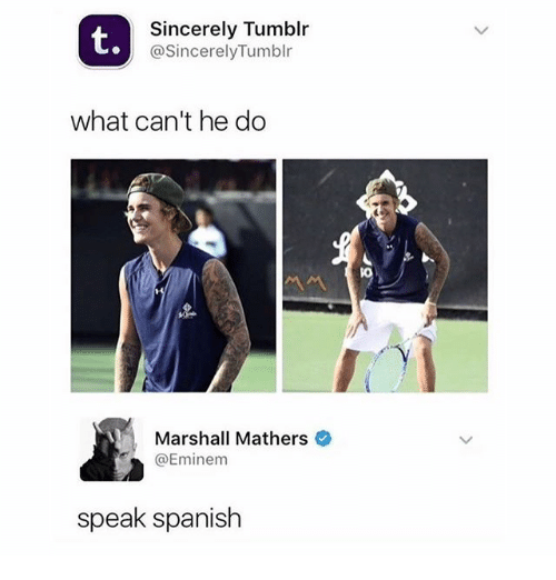 Eminem, Memes, and Spanish: t.  Sincerely Tumblr  @SincerelyTumblr  what can't he do  Marshall Mathers  @Eminem  speak spanish
