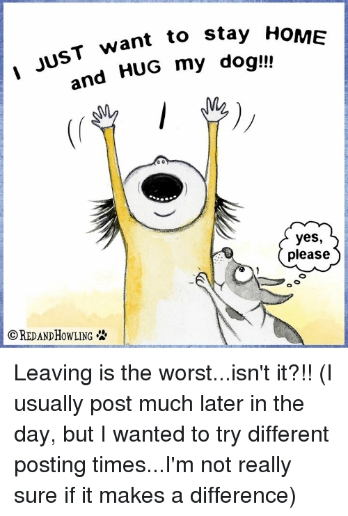 Memes, The Worst, and Home: T want to stay HoME  and HUG my dog!  yes,  please  OREDANDHOWLING Leaving is the worst...isn't it?!!  (I usually post much later in the day, but I wanted to try different posting times...I'm not really sure if it makes a difference)