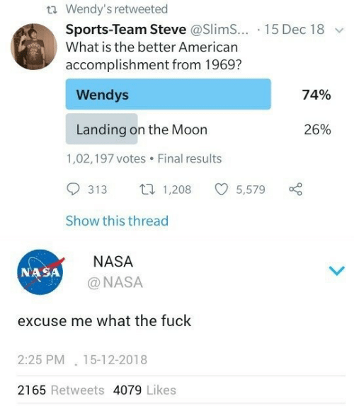 wendys: t Wendy's retweeted  Sports-Team Steve @Slim... 15 Dec 18  What is the better American  accomplishment from 1969?  Wendys  74%  Landing on the Moon  26%  1,02,197 votes  Final results  1,208  313  5,579  Show this thread  NASA  NASA  @NASA  excuse me what the fuck  2:25 PM 15-12-2018  2165 Retweets 4079 Likes