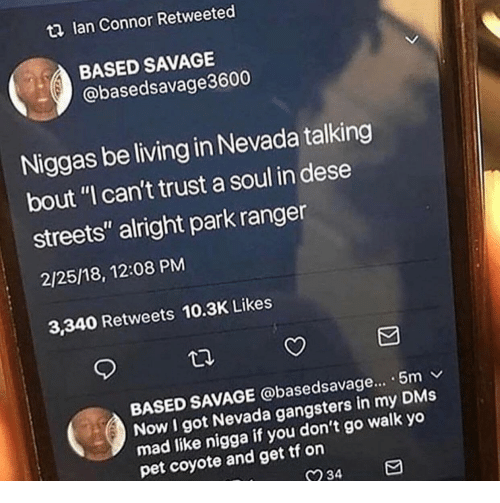 "Nevada: t2 lan Connor Retweeted  BASED SAVAGE  @basedsavage3600  Niggas be living in Nevada talking  bout ""I can't trust a soul in dese  streets"" alright park ranger  2/25/18, 12:08 PM  3,340 Retweets 10.3K Likes  BASED SAVAGE @basedsavage... . 5m v  Now I got Nevada gangsters in my DMs  mad like nigga  pet coyote and get tf on  if you don't go walk yo  234"