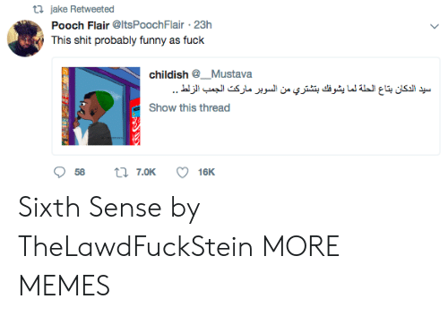 Sixth: ta jake Retweeted  Pooch Flair @ItsPoochFlair 23h  This shit probably funny as fuck  childish @_. Mustava  Show this thread Sixth Sense by TheLawdFuckStein MORE MEMES