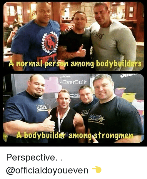 Bodybuilding: TA normal person among bodybyildgrs  4EverBulk  A bodybuilder among strongmen Perspective. . @officialdoyoueven 👈