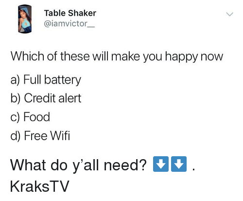 Free Wifi: Table Shaker  @iamvictor.  Which of these will make you happy now  a) Full battery  b) Credit alert  c) Food  d) Free Wifi What do y'all need? ⬇️⬇️ . KraksTV