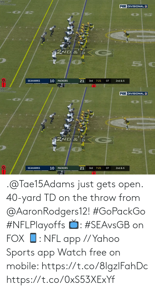 yard: .@Tae15Adams just gets open.  40-yard TD on the throw from @AaronRodgers12! #GoPackGo #NFLPlayoffs  📺: #SEAvsGB on FOX 📱: NFL app // Yahoo Sports app Watch free on mobile: https://t.co/8lgzlFahDc https://t.co/0xS53XExYf
