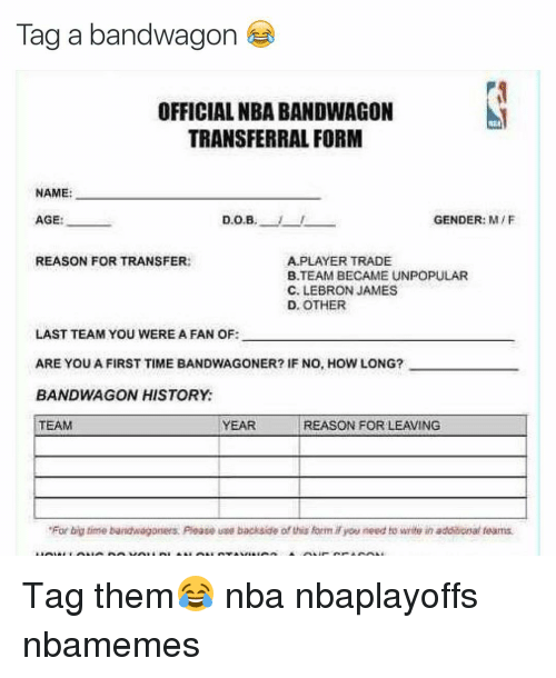 Tag a Bandwagon OFFICIAL NBA BANDWAGON TRANSFERRAL FORM NAME AGE ...