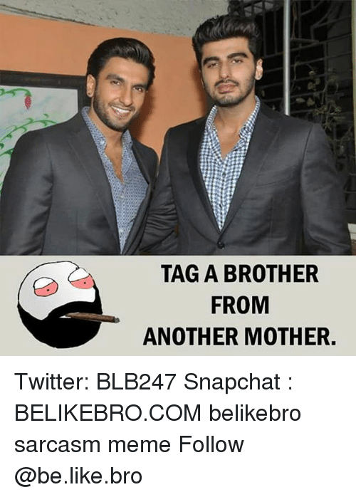 Be Like, Meme, and Memes: TAG A BROTHER  FROM  ANOTHER MOTHER. Twitter: BLB247 Snapchat : BELIKEBRO.COM belikebro sarcasm meme Follow @be.like.bro