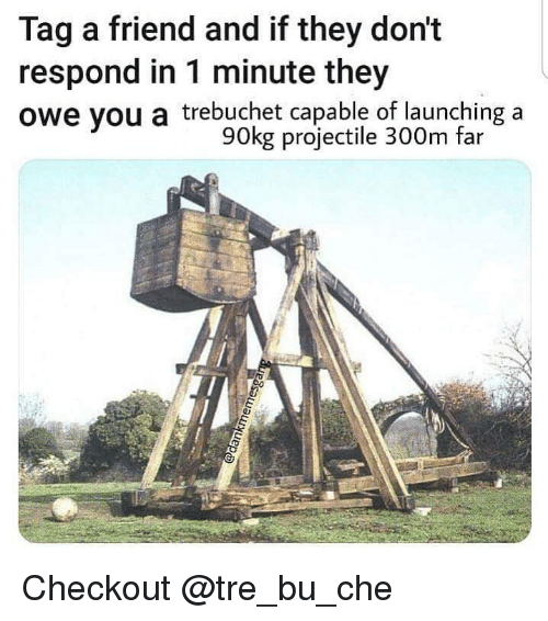 trebuchet: Tag a friend and if they don't  respond in 1 minute they  owe you a trebuchet capable of launching a  90kg projectile 300m far Checkout @tre_bu_che