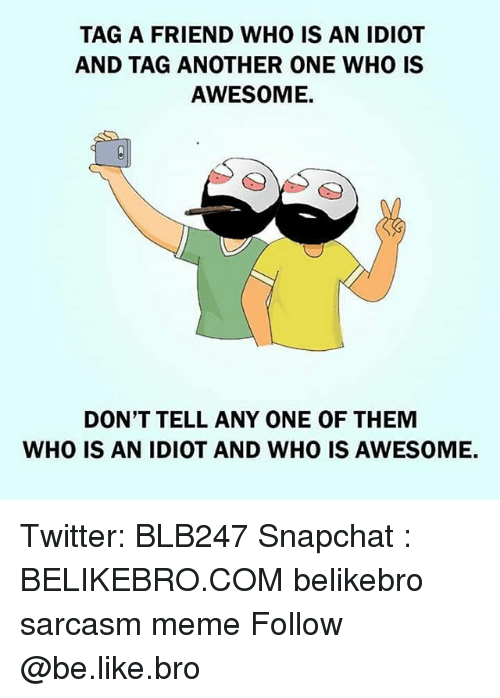 Another One, Another One, and Memes: TAG A FRIEND WHO IS AN IDIOT  AND TAG ANOTHER ONE WHO IS  AWESOME.  DON'T TELL ANY ONE OF THEM  WHO IS AN IDIOT AND WHO IS AWESOME. Twitter: BLB247 Snapchat : BELIKEBRO.COM belikebro sarcasm meme Follow @be.like.bro