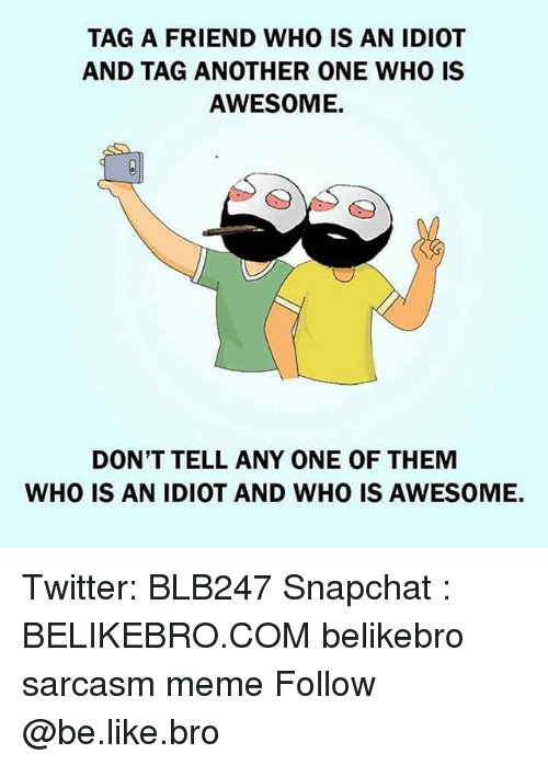 Another One, Be Like, and Meme: TAG A FRIEND WHO IS AN IDIOT  AND TAG ANOTHER ONE WHO IS  AWESOME.  DON'T TELL ANY ONE OF THEMM  WHO IS AN IDIOT AND WHO IS AWESOME. Twitter: BLB247 Snapchat : BELIKEBRO.COM belikebro sarcasm meme Follow @be.like.bro
