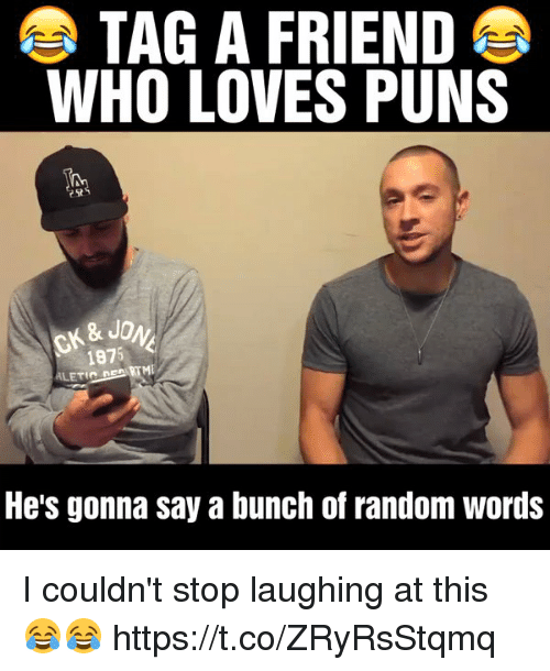Memes, Puns, and 🤖: TAG A FRIEND  WHO LOVES PUNS  & JO  1875  ALETELRE  He's gonna say a bunch of random Words I couldn't stop laughing at this 😂😂 https://t.co/ZRyRsStqmq