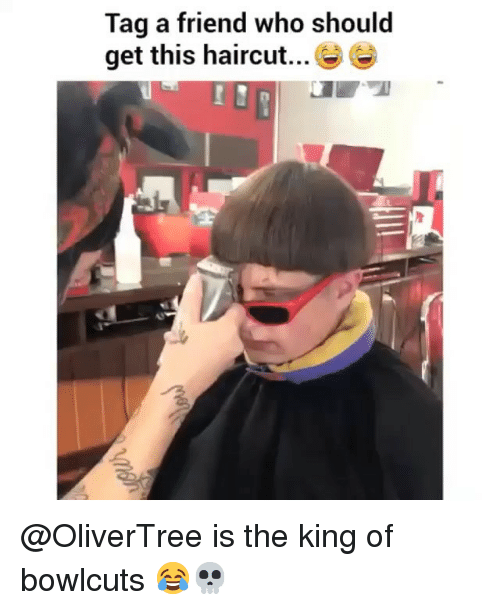 Funny, Haircut, and King: Tag a friend who should  get this haircut... e @OliverTree is the king of bowlcuts 😂💀