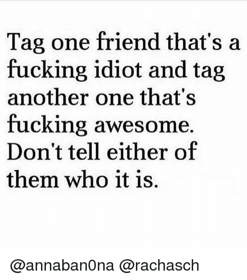 Another One, Fucking, and Girl Memes: Tag one friend that's a  fucking idiot and tag  another one that's  fucking awesome.  Don't tell either of  them who it is. @annaban0na @rachasch