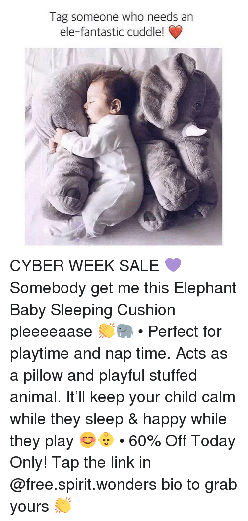 playful: Tag someone who needs an  ele-fantastic cuddle! CYBER WEEK SALE 💜Somebody get me this Elephant Baby Sleeping Cushion pleeeeaase 👏🐘 • Perfect for playtime and nap time. Acts as a pillow and playful stuffed animal. It'll keep your child calm while they sleep & happy while they play 😊👶 • 60% Off Today Only! Tap the link in @free.spirit.wonders bio to grab yours 👏