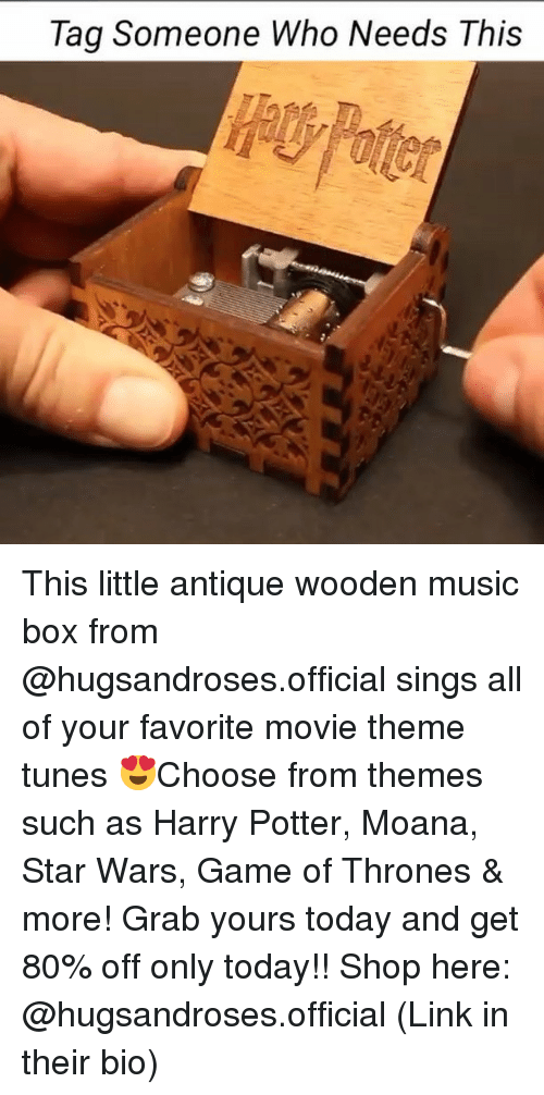 moana: Tag Someone Who Needs This This little antique wooden music box from @hugsandroses.official sings all of your favorite movie theme tunes 😍Choose from themes such as Harry Potter, Moana, Star Wars, Game of Thrones & more! Grab yours today and get 80% off only today!! Shop here: @hugsandroses.official (Link in their bio)