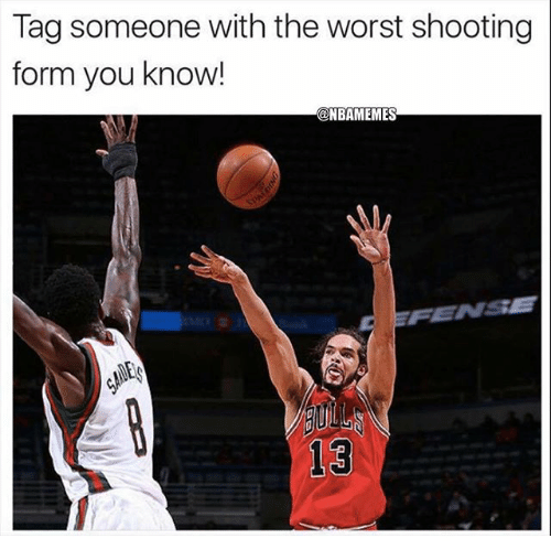 Nba, The Worst, and Tag Someone: Tag someone with the worst shooting  form you know!  @NBAMEMES  빎  FENSE  13