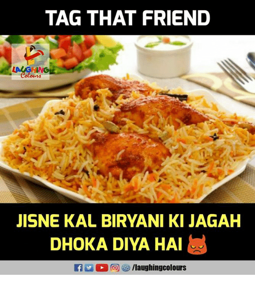 biryani: TAG THAT FRIEND  JISNE KAL BIRYANI KI JAGAH  DHOKA DIVA HA!