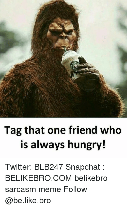 Be Like, Hungry, and Meme: Tag that one friend who  is always hungry! Twitter: BLB247 Snapchat : BELIKEBRO.COM belikebro sarcasm meme Follow @be.like.bro