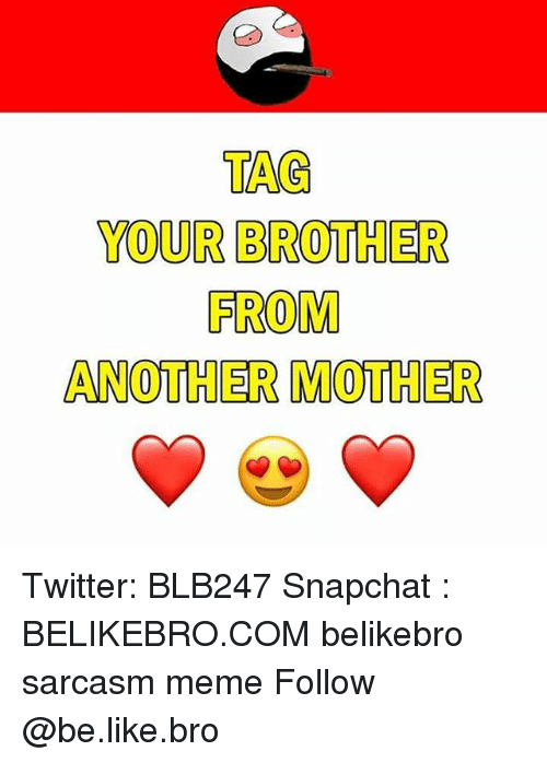 Brother From Another Mother: TAG  YOUR BROTHER  FROM  ANOTHER MOTHER Twitter: BLB247 Snapchat : BELIKEBRO.COM belikebro sarcasm meme Follow @be.like.bro