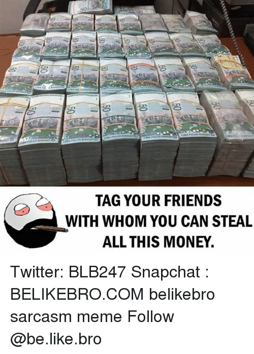 Be Like, Friends, and Meme: TAG YOUR FRIENDS  WITH WHOM YOU CAN STEAL  ALL THIS MONEY. Twitter: BLB247 Snapchat : BELIKEBRO.COM belikebro sarcasm meme Follow @be.like.bro