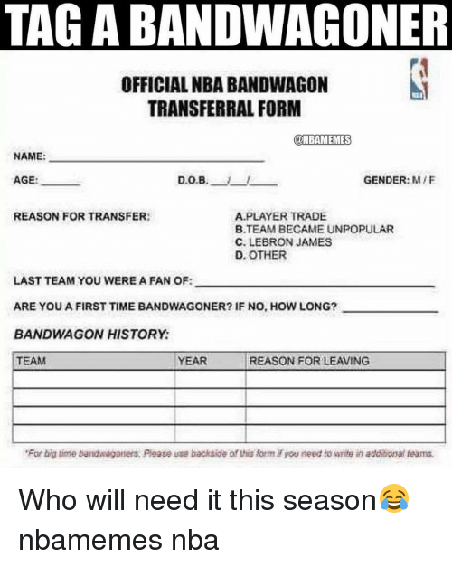 TAGABANDWAGONER OFFICIAL NBA BANDWAGON TRANSFERRAL FORM ONBAMEMES ...