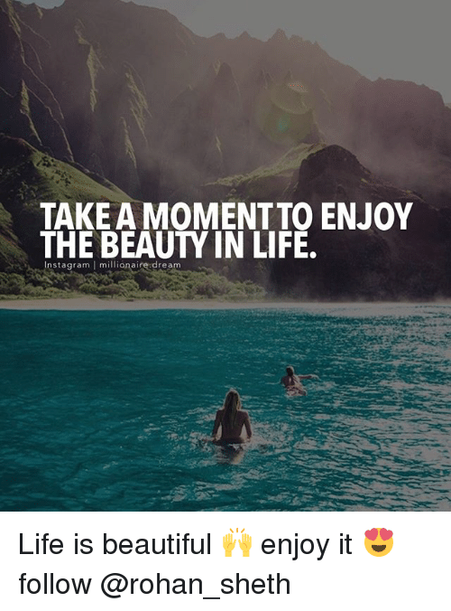Beautiful, Life, and Memes: TAKE A MOMENT TO ENJOY  Instagaram millionaire dream Life is beautiful 🙌 enjoy it 😍 follow @rohan_sheth